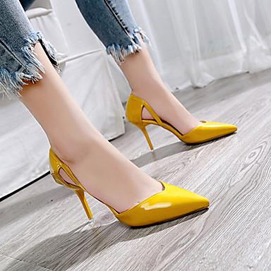 y D'Orsay Tacón Piezas Dedo Negro Tacones Stiletto Verano Beige 06856788 PU Mujer Amarillo Puntiagudo Dos Zapatos wIqfftU
