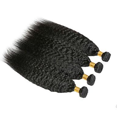 baratos Extensões de Cabelo Natural-4 pacotes Cabelo Malaio Yaki 8A Cabelo Humano Cabelo Humano Ondulado Cabelo Bundle Extensões de Cabelo Natural 8-28 polegada Côr Natural Tramas de cabelo humano extensão Melhor qualidade Venda