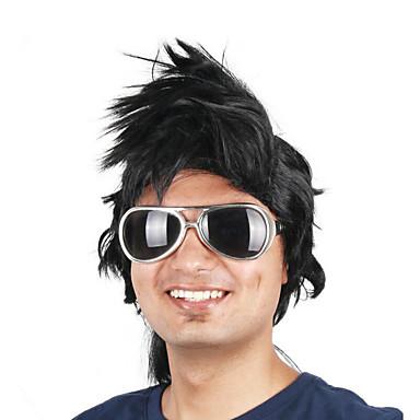 billige Kostymeparykk-Syntetiske parykker Kostymeparykker Rett Stil Bobfrisyre Maskinprodusert Parykk Svart Syntetisk hår 14 tommers Herre Cosplay For europeisk Svart Parykk Kort