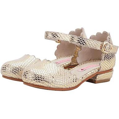 baratos Sapatos de Criança-Para Meninas Pele Saltos Criança (9m-4ys) / Little Kids (4-7 anos) / Big Kids (7 anos +) Sapatos para Daminhas de Honra Dourado / Prateado Primavera & Outono