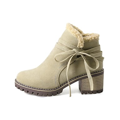 Polyuréthane 06846190 Mode Chaussures Bottes Vert la hiver rond à Talon Automne Noir Bottes Bottier Femme Bottine Beige Demi Bout Botte 5H0xx
