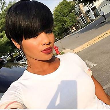 Wig Accessories / شعرة الإنسان كابليس الباروكات شعر مستعار طبيعي مستقيم جزء جانبي قابل للتعديل / أفضل جودة / شعري طبيعي أسود 4-8إنش مصنوع بالماكينة / دون غطاء شعر مستعار شعر برازيلي للمرأة