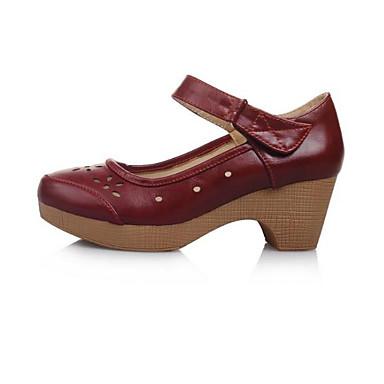 06863898 Tacón Primavera Marrón Mujer Rojo Negro Zapatos Tacones PU Bajo Confort ZvF4qTxw