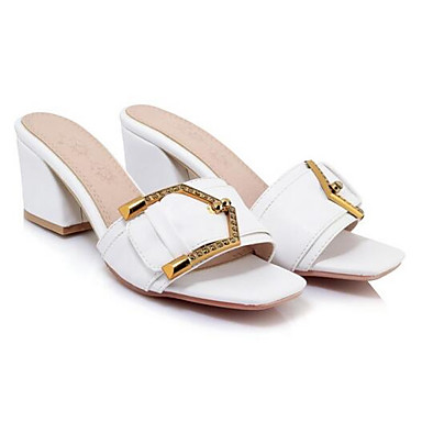 Confort Blanco Sandalias 06858357 Zapatos Cuadrado Rosa Tacón Mujer Negro Verano PU 1W4Hnqq6tw