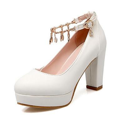 Mujer Tacones Zapatos Rosa Invierno Confort Cuadrado PU 06849920 Negro Blanco Tacón OPFTOw