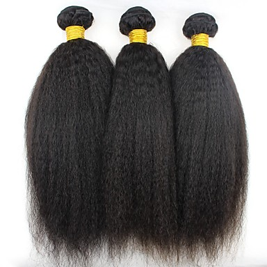 baratos Extensões de Cabelo Natural-3 pacotes Cabelo Brasileiro Kinky Liso 8A Cabelo Humano Cabelo Humano Ondulado Cabelo Bundle Extensões de Cabelo Natural 8-28 polegada Côr Natural Tramas de cabelo humano extensão Melhor qualidade