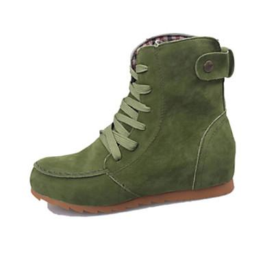 povoljno Ženske čizme-Žene Čizme Fashion Boots Ravna potpetica Okrugli Toe Brušena koža Čizme gležnjače / do gležnja Jesen zima Crvena / Zelen / Žutomrk