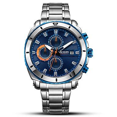 baratos Relógios Homem-MEGIR Homens Relógio Esportivo Relógio Elegante Japanês Quartzo Aço Inoxidável Prata 30 m Impermeável Calendário Cronógrafo Analógico Luxo Clássico Fashion - Preto Azul / Noctilucente