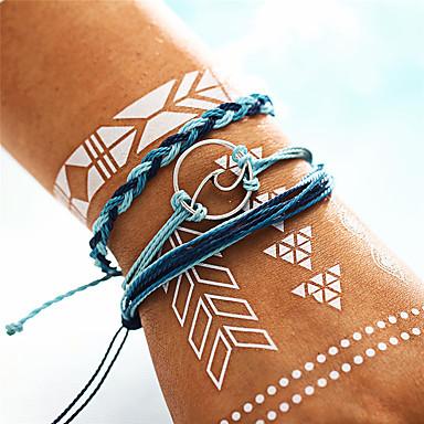 abordables Bracelet-3pcs Bracelets Vintage Bracelet Yoga Bracelet à maillons fait main Femme Le style rétro Tressé Crossover Vague dames Bohème Mode Militaire Bracelet Bijoux Bleu Forme de Cercle Forme Géométrique pour