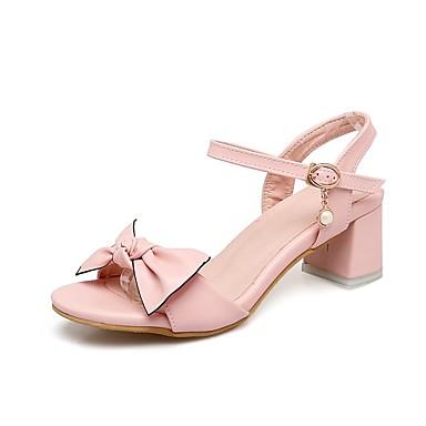 Azul Confort Rosa Tacón Primavera 06858725 Blanco verano Sandalias Zapatos Cuadrado PU Mujer Real 4xTqCFwvC