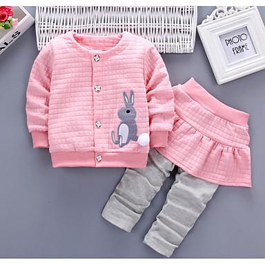billige Sett med babyklær-Baby Pige Basale Daglig Ensfarvet / Farveblok Patchwork Langærmet Normal Normal Bomuld Tøjsæt Rød