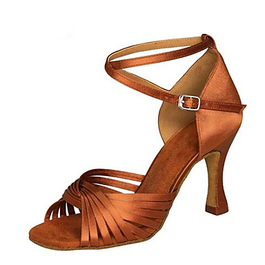 Women's Latin Shoes Satin Sandal / Heel Flared Heel Customizable Dance Shoes Black / Brown / Red