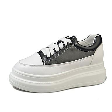 Aggressivo Per Donna Scarpe Comfort Pu (poliuretano) Autunno Sneakers Polacche Punta Tonda Bianco - Nero #06870140