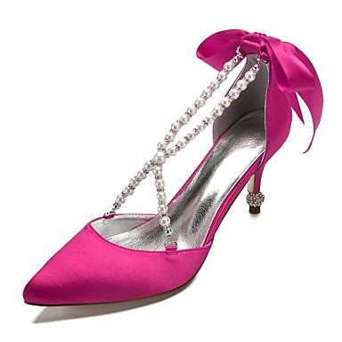 b190f8cfe9906b Femme Escarpins Satin Printemps été Doux Chaussures de mariage Talon  Aiguille Bout pointu Noeud / Imitation Perle / Fleur en Satin Bleu /  Champagne / Ivoire ...
