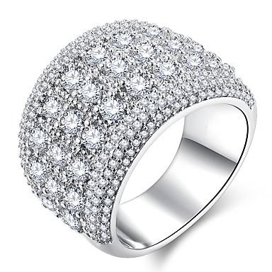billige Motering-Dame Ring Micro Pave Ring 1pc Sølv Kobber Platin Belagt Fuskediamant damer Klassisk Overdrivelse Bryllup Fest Smykker Elegant Stardust HALO Stjerne Gypsophila Søtt