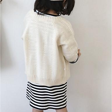baratos Suéteres & Cardigans para Meninas-Infantil Para Meninas Básico Sólido Manga Longa Algodão Suéter & Cardigan Rosa
