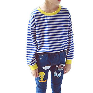 baratos Blusas para Meninas-Infantil Para Meninas Básico Diário Listrado Manga Longa Padrão Camiseta Azul
