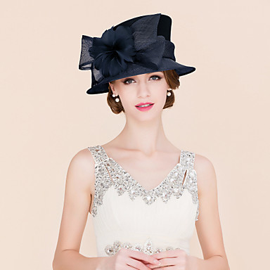 voordelige Hoeden-Vlas / Veer / Satiini Kentucky Derby Hat / fascinators / hatut met 1 Bruiloft / Speciale gelegenheden  / Causaal Helm