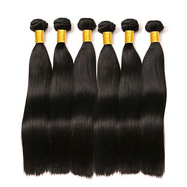 povoljno Ekstenzije za kosu-6 paketića Brazilska kosa Ravan kroj 8A Ljudska kosa Bundle kose Jedan Pack Solution Ekstenzije od ljudske kose 8-28 inch Prirodna boja Isprepliće ljudske kose proširenje Najbolja kvaliteta Rasprodaja