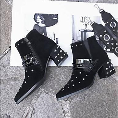 Femme Bottier pointu Talon Bottine Hiver Chaussures Bout Confort Daim Botte Noir Demi 06850085 Bottes rrTFf1