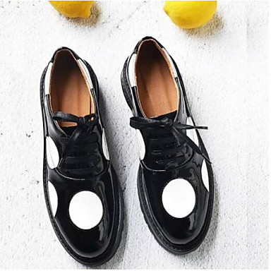 Women's Shoes Nappa Leather Spring Creepers / Summer Comfort Oxfords Creepers Spring Closed Toe Black / Army Green d5ccbb