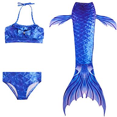 preiswerte Mode für Mädchen-Kinder Mädchen Aktiv nette Art Meerjungfrau Einfarbig Ärmellos Polyester Bademode Leicht Blau