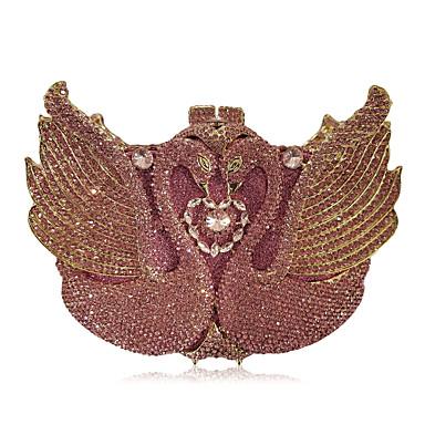 billige Vesker-Dame Krystalldetaljer / Uthult Legering Aftenveske Rhinestone Crystal Evening Bags Rosa / Høst vinter