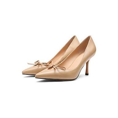 Talon Chaussures Printemps Amande Femme Chaussures Aiguille Nappa 06870147 à Talons Cuir confort de Beige Noir OwBzxqXBY