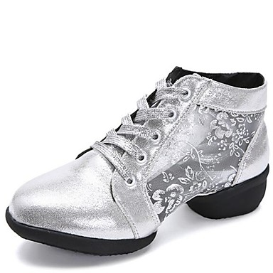 Women's Dance Sneakers Synthetics Dance Sneaker Thick Heel Customizable Dance Synthetics Shoes Gold / Black / Silver 272232
