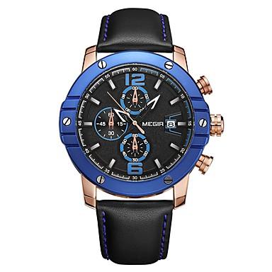 baratos Relógios Homem-MEGIR Homens Relógio Esportivo Japanês Quartzo Couro Legitimo Preta 30 m Impermeável Calendário Cronógrafo Analógico Luxo Fashion - Preto Azul / Noctilucente