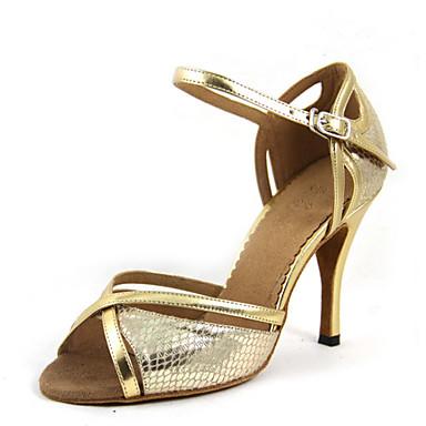 baratos Sapatos de Samba-Mulheres Sapatos de Dança Cetim Sapatos de Dança Latina / Sapatos de Samba Sandália / Salto Salto Alto Magro Personalizável Dourado / Vermelho / Espetáculo / Ensaio / Prática / EU37