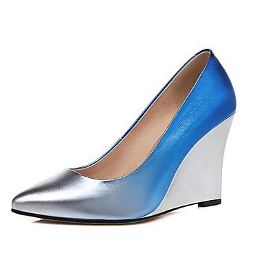 Escarpin à compensée semelle 06848861 de Talons Bleu Basique Printemps Vert Femme Chaussures Hauteur Rouge Cuir Nappa Chaussures 7qx4I0