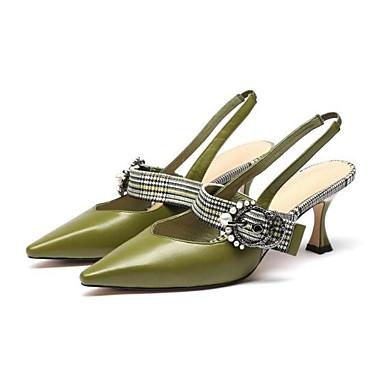 06846198 Vert Talon Confort Aiguille Sandales Nappa Chaussures Printemps Noir Femme Cuir pzawav