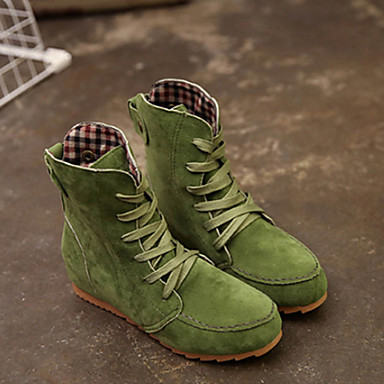 cheap Women's Boots-Women's Boots Fashion Boots Flat Heel Round Toe Suede Booties / Ankle Boots Fall & Winter Red / Green / Khaki