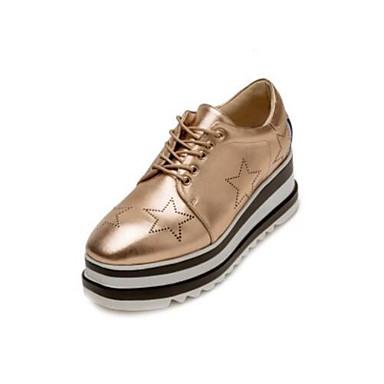 Confort Cuir Femme Nappa Bout Chaussures Or fermé Eté Printemps Blanc Oxfords Creepers Noir 06850199 SBUaU