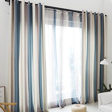 Cortina Sólida Barra no Interior Painel 2*(W140cm×L259cm) Amarelo / Quarto / Cortinas cortinas