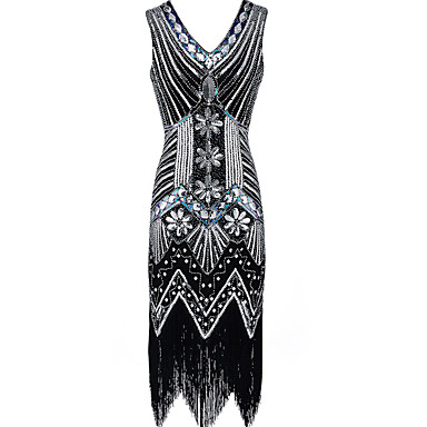 The Great Gatsby Vintage The Great Gatsby Flapper Costume Roaring Twenties Roaring 20s Costume Women's Dress Black / Golden / Red Vintage Cosplay Party Prom Sleeveless Knee Length / Sequins