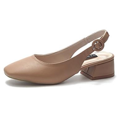 cuadrada Tacón Negro Mujer Dedo Zapatos 06856789 Claro Beige Cuadrado Sandalias Talón Descubierto PU Verano Marrón aw1qwpxZg