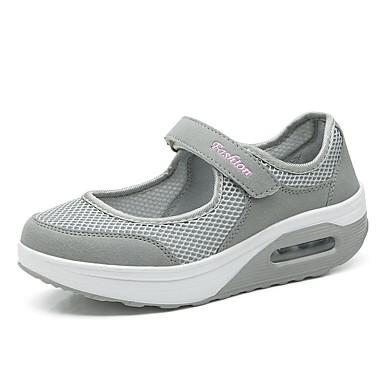 3370f76b83 Női Kényelmes cipők Háló / Elasztikus szövet Tavaszi nyár Sportcipők  Gyalogló Talp Kerek orrú Fekete / Szürke / Sötétvörös