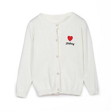 baratos Suéteres & Cardigans para Meninas-Infantil Para Meninas Básico Sólido Manga Longa Padrão Suéter & Cardigan Branco