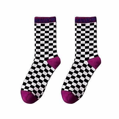 abordables Accessoires pour Chaussures-1 paire Unisexe Chaussettes Standard Ecossais / à Carreaux Des sports Style Simple Coton EU36-EU46
