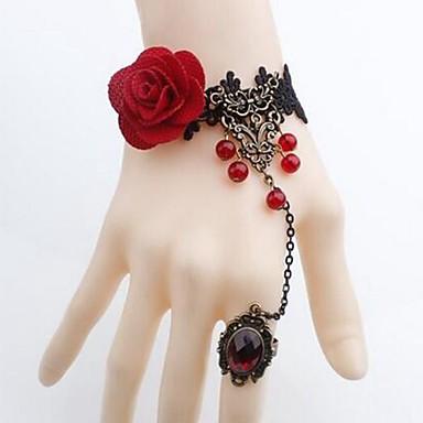 abordables Bracelet-Bracelets Bagues Femme Dentelle Fleur dames simple Classique Bracelet Bijoux Noir pour Quotidien Costumes de cosplay