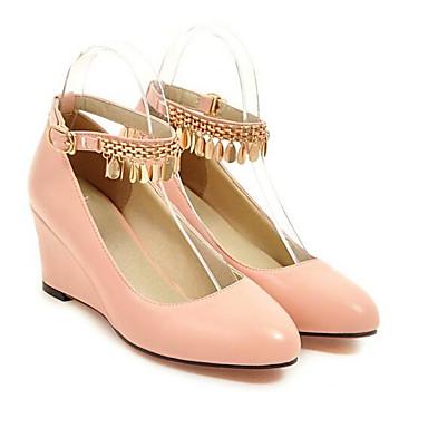 Invierno Mujer PU 06848677 Cuña Tacones Zapatos Negro Rosa Blanco Confort Tacón rwSvrEq