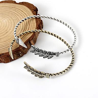 billige Motearmbånd-Dame Mansjettarmbånd Elegant Fjær Arrow damer Enkel Vintage Europeisk Legering Armbånd Smykker Gull / Svart / Sølv Til Daglig