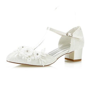 dca11582f966 Women s Comfort Shoes Lace   Satin Spring   Fall Sweet Wedding Shoes Chunky  Heel Pointed Toe Satin Flower Ivory   Party   Evening