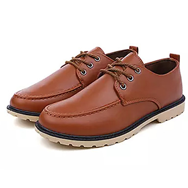 Men's Comfort Shoes PU(Polyurethane) Fall Casual Brown Oxfords Non-slipping Black / Brown Casual c6c1db