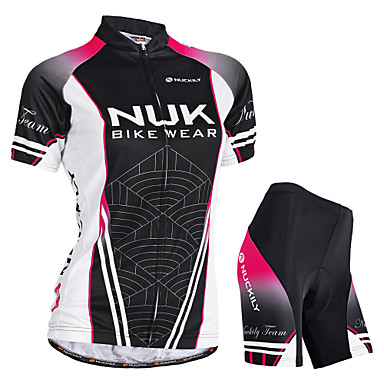 Nuckily Women's Short Sleeve Cycling Jersey with Shorts - Black Gradient Bike Shorts Jersey Padded Shorts / Chamois Waterproof Breathable Ultraviolet Resistant Waterproof Zipper Reflective Strips