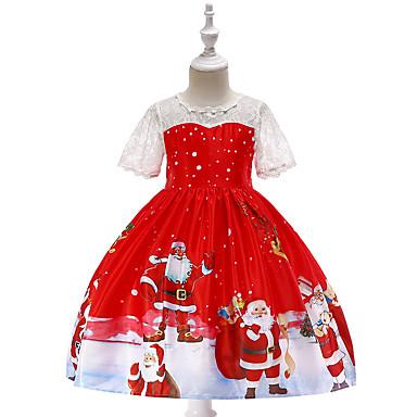 baratos Princesa-Infantil Bébé Para Meninas Vintage Activo Natal Festa Feriado Desenho Animado Manga Curta Altura dos Joelhos Vestido Vermelho