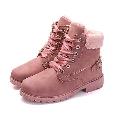 povoljno Ženske čizme-Žene Čizme Udobne cipele Niska potpetica Okrugli Toe Kopča Eko koža slatko / minimalizam Jesen zima Sive boje / Pink / Deva / Prugasti uzorak / EU39