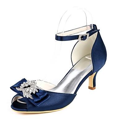 billige Toppsalg-Dame bryllup sko D'Orsay & Two-Piece Liten hæl Titte Tå Rhinsten / Sløyfe / Spenne Sateng Søt Vår sommer Marineblå / Lysebrun / Krystall / Bryllup / Fest / aften